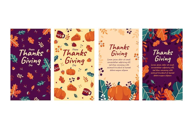 Flaches design thanksgiving instagram geschichten sammlung