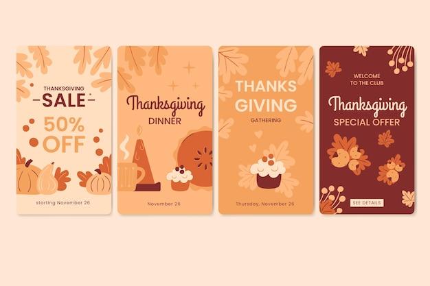 Flaches design thanksgiving instagram geschichten