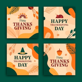 Flaches design thanksgiving instagram post sammlung
