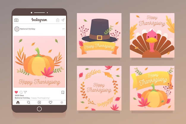 Flaches design thanksgiving instagram post