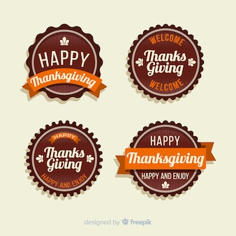Flaches design thanksgiving-label-auflistung