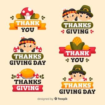 Flaches design thanksgiving-label-auflistung