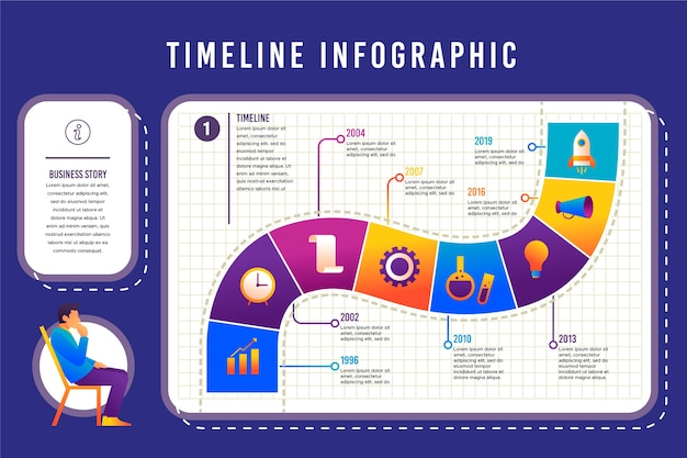 Flaches design timeline infographik