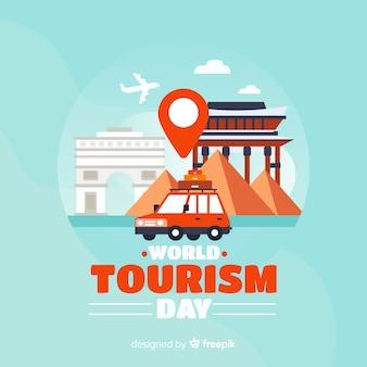 Flaches design tourismus tag hintergrund