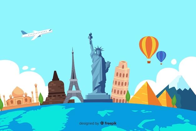Flaches design tourismus tag mit sehenswürdigkeiten