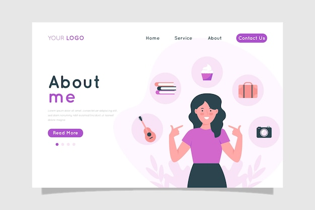 Flaches design über mich webvorlage illustriert
