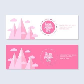 Flaches design valentinstag banner festgelegt
