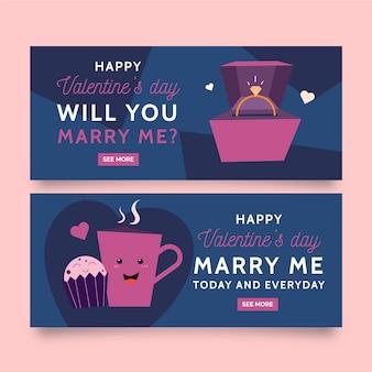 Flaches design valentinstag banner vorlage