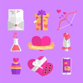 Flaches design valentinstag elementsammlung