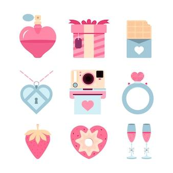 Flaches design valentinstag elementsatz
