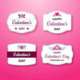 Flaches design valentinstag etikettensammlung
