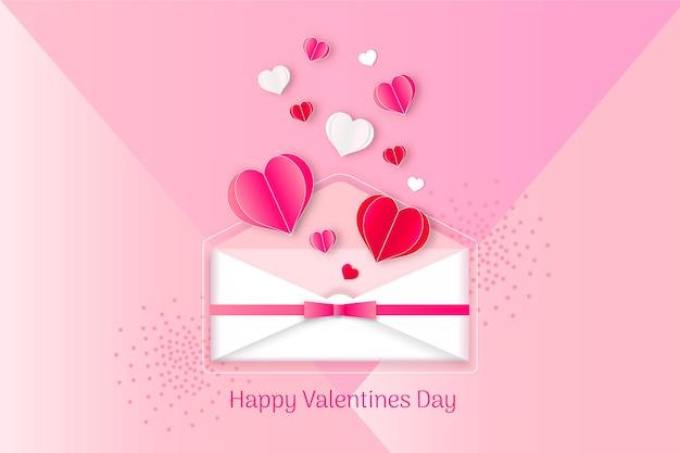 Flaches design valentinstag hintergrund konzept
