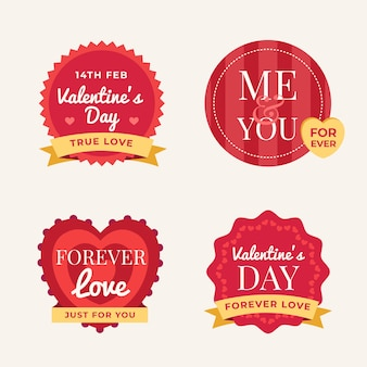 Flaches design valentinstag label set