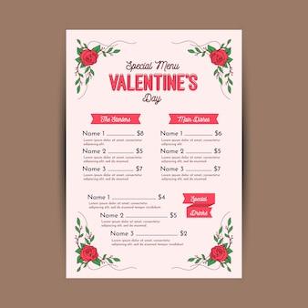 Flaches design valentinstag menüvorlage