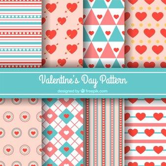 Flaches design valentinstag muster sammlung