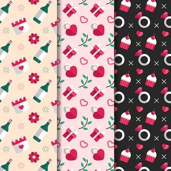 Flaches design valentinstag muster sammlungssatz