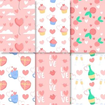 Flaches design valentinstag mustersammlung