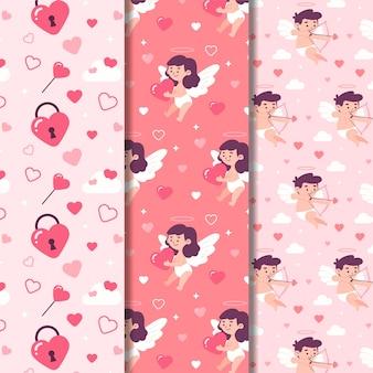 Flaches design valentinstag mustersatz