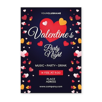 Flaches design valentinstag party flyer vorlage