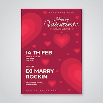 Flaches design valentinstag party plakat vorlage