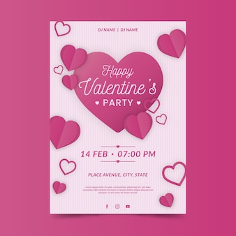 Flaches design valentinstag party plakat vorlage