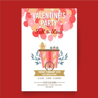 Flaches design valentinstag-party plakat vorlage