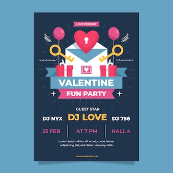Flaches design valentinstag party poster