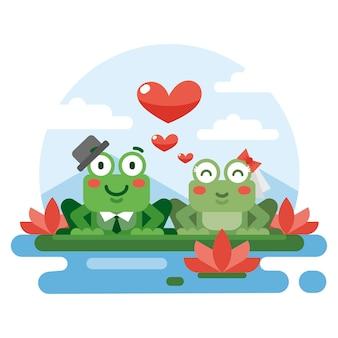 Flaches design valentinstag tierpaar