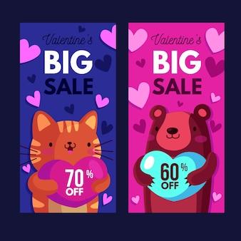 Flaches design valentinstag verkauf banner vorlage