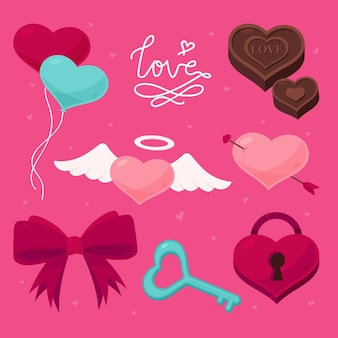 Flaches design valentinstagselementsatz