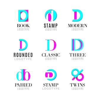 Flaches design verschiedene d logos pack