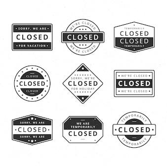 Flaches design verschiedene geschlossene siegelstempel set