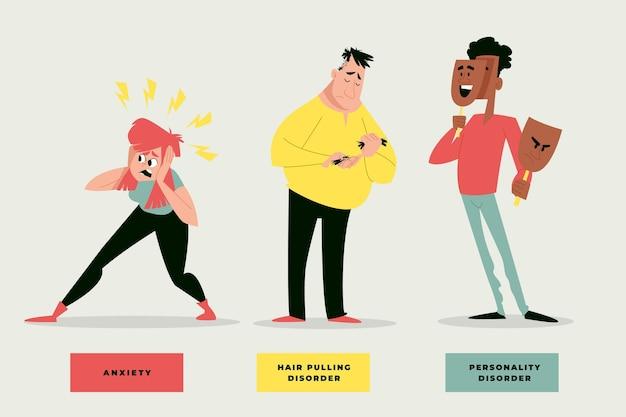 Flaches design verschiedene sammlung von psychischen störungen