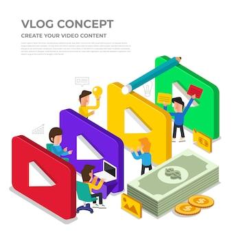 Flaches design-vlog-konzept. erstellen sie videoinhalte und verdienen sie geld. veranschaulichen