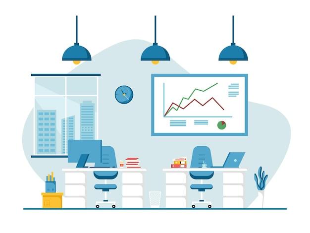 Flaches design von arbeitsplatz und arbeitsplatz, konzept des schreibtisches oder des büroinnenraums mit möbeln. moderner büroraum mit computer, tisch und ausrüstung. arbeiten sie von zu hause aus abbildung.