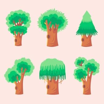 Flaches design von bäumen set