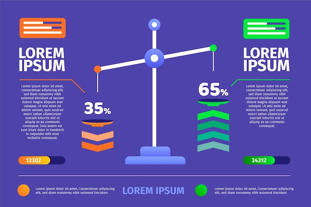 Flaches design von balance-infografiken