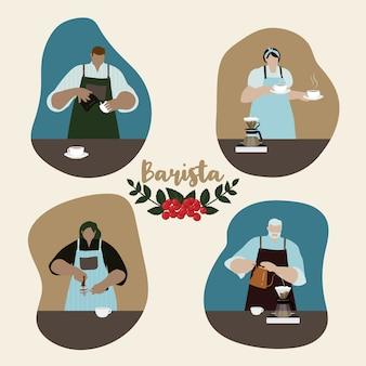 Flaches design von baristas, die kaffee herstellen