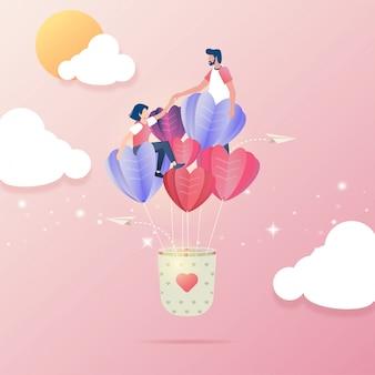 Flaches design von den paaren, die auf fliegen verlieben, steigt im ballon auf
