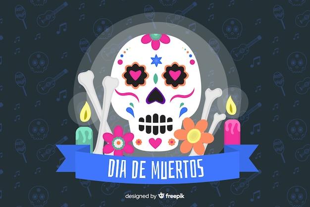 Flaches design von dia de muertos hintergrund