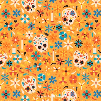 Flaches design von dia de muertos muster