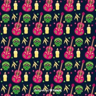 Flaches design von dia de muertos pettern