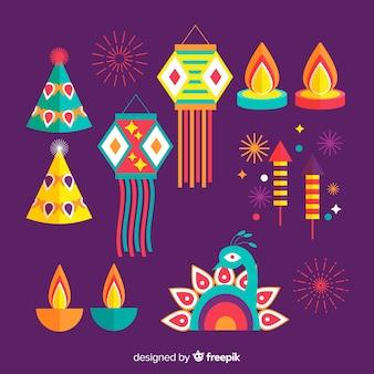 Flaches design von diwali hintergrund