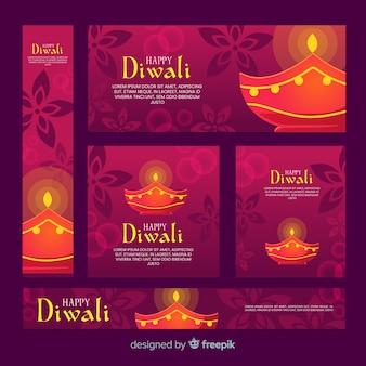 Flaches design von diwali netzfahnen