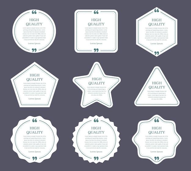 Flaches design von etiketten