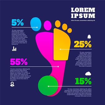 Flaches design von footprint-infografiken