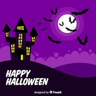 Flaches design von halloween-backgound