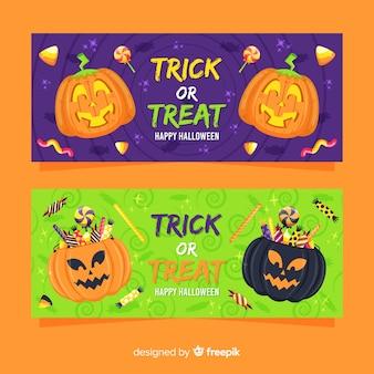 Flaches design von halloween-fahnen