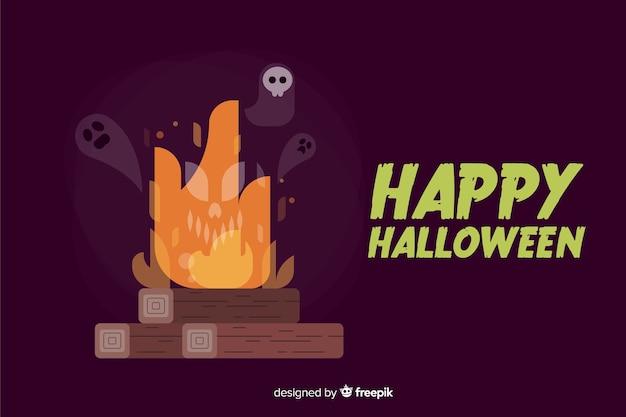 Flaches design von halloween-hintergrund