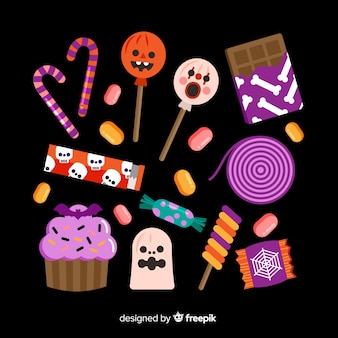 Flaches design von halloween-süßigkeit collecion
